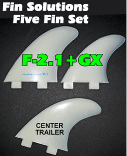 Fin Solutions F-2.1 + GX w/FCS Twin Tab Base - Five Fin Set