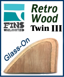 Glass On - Fins Unlimited Retro Wood Twin Fin 3