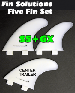 Fin Solutions S5 + GX w/FCS Twin Tab Base - Five Fin Set