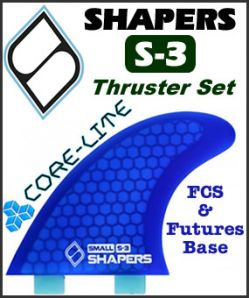 Shapers Core Lite S-3 Thruster Fin Set