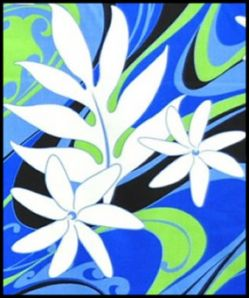 Hawaiian Surfboard Fabric Inlay - BLUE BB